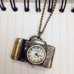 Antique Bronze Camera Pendant Watch Necklace 📷